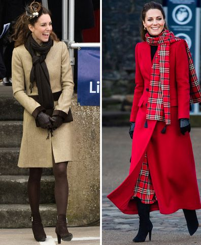 Kate Middleton's first official engagement in Trearddur Bay, Anglesey in February 2011 (left) Duchess of Cambridge visits Cardiff Castle in December 2020 (right)