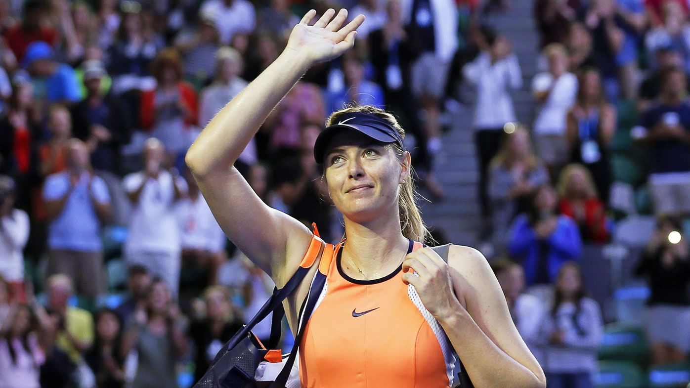 Russian tennis player Maria Sharapova waves to supporters after defeating Belinda Bencic of Swizerland in their fourth round match of the Australian Open Grand Slam tennis tournament in Melbourne, Australia, 24 January 2016