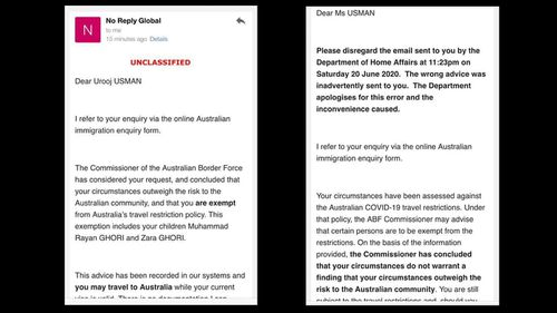 The two emails sent to Urooj Usman and her husband Danish Ghori. The first grants their application for an exemption and the second says it was a mistake.