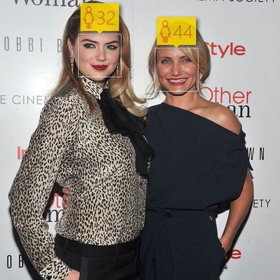 <p>Kate Upton, 22, and Cameron Diaz, 42</p>