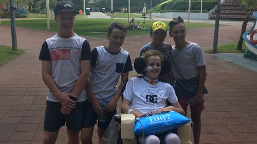 Louie's mates have been by his side throughout his recovery. (Supplied)