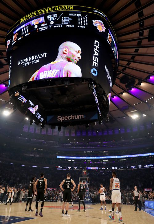The New York Knicks and the Brooklyn Nets honour Kobe Bryant at Madison Square Garden, in New York City.