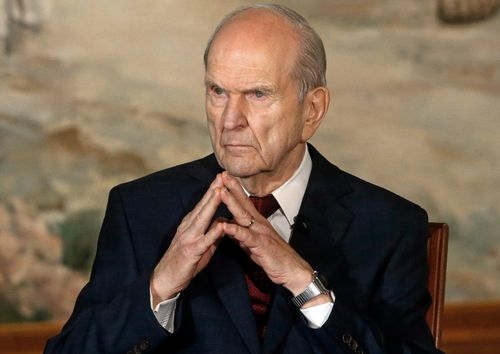 In this 2018 file photo, Church of Jesus Christ of Latter-day Saints President Russell M. Nelson looks on following a news conference, in Salt Lake City.