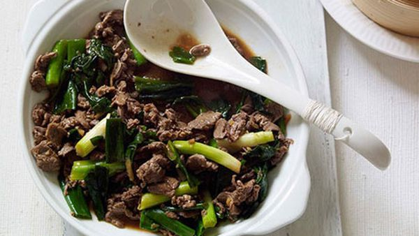 Stirfried lamb with spring onions