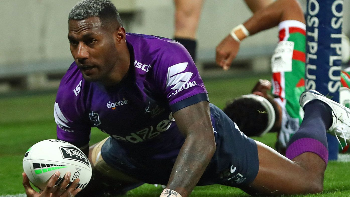 Suliasi Vunivalu of the Storm scores a try during the round four NRL match