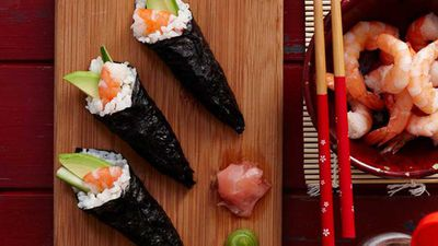 "<a href=""http://kitchen.nine.com.au/2016/05/16/16/03/sushi-hand-rolls"" target=""_top"">Sushi hand rolls</a> recipe"