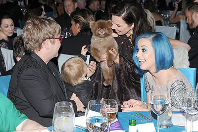 "Elton's kid says: ""Sorry Katy Perry but Fran Drescher's Ewok-dog is way more interesting than your blue hair.""<br/><br/>You've seen them get dressed up for the big night, now see the stars let their hair down after the ceremony!"