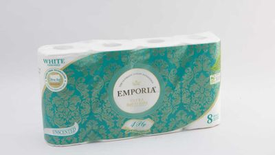 #10 Emporia Ultra Soft & Silky Toilet Tissue White Embossed Unscented, $6.50; 8 pack, 4 ply