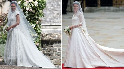 2. Pippa and Kate wear lace gowns by British designers.