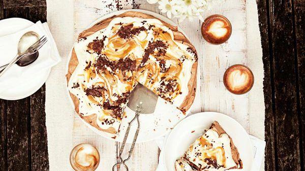 Chocolate pavlova with salted butterscotch sauce