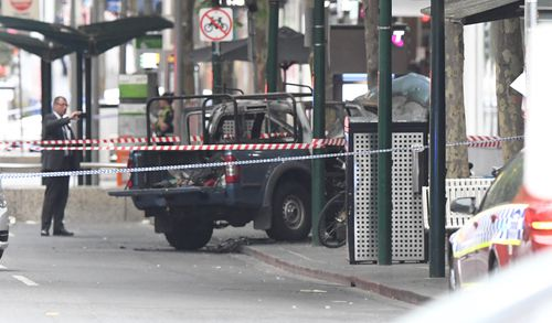 The burnt out vehicle of Friday's Bourke Street terrorist.