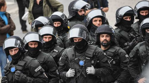 Police during a protest in Chemnitz, Germany.