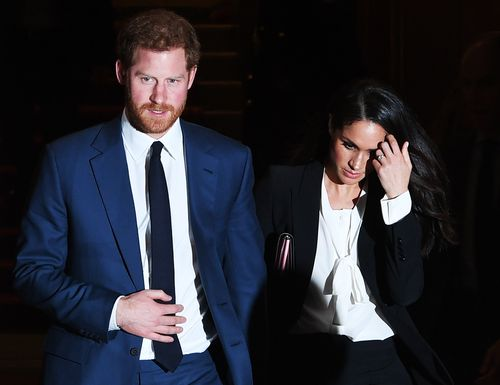 Prince Harry and his fiancee arrive for the Endeavour Awards Ceremony at Goldsmiths Hall, London. Picture: AAP