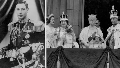 The coronation of George VI and his wife Elizabeth