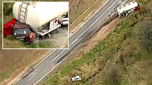 BP has pulled its fleet of trucks off Victorian roads after a horror crash that killed two women and a child.