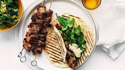 Grilled cumin and chilli lamb skewers with smoky eggplant purée