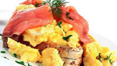 """Recipe:<a href=""""http://kitchen.nine.com.au/2016/05/05/14/38/scrambled-eggs-with-smoked-salmon-and-dill-butter"""">Scrambled eggs with salmon</a>"""