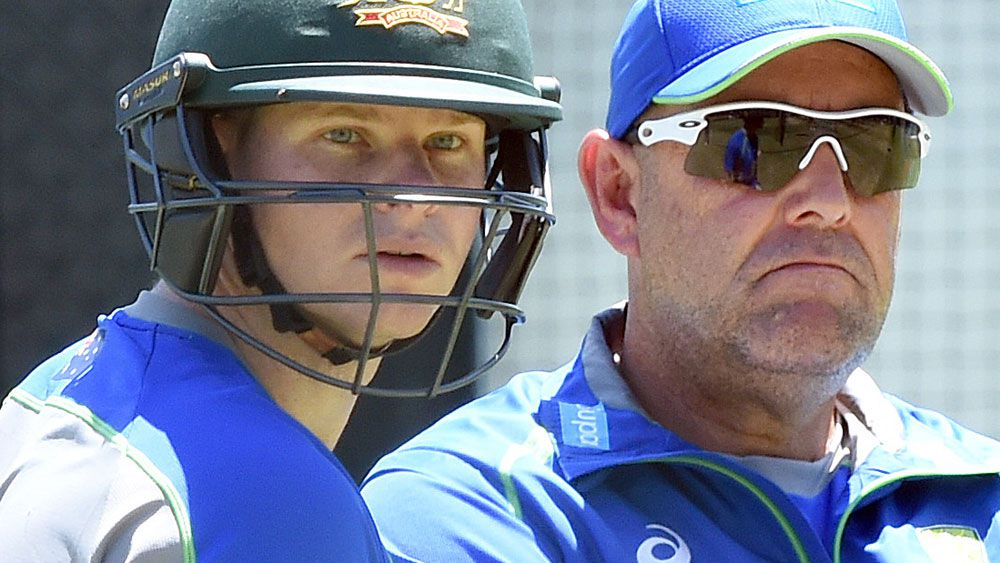 Steve Smith and Darren Lehmann. (AAP)