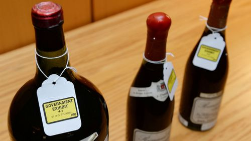 Three bottles of wine used as evidence in the trial of wine dealer Rudy Kurniawan. (Getty Images)