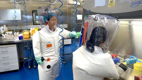 A file photo of researchers in a lab at the Wuhan Institute of Virology in Wuhan in central China's Hubei province in 2017.