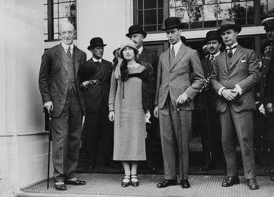 The Duke (centre, right) and Duchess of York (later king George VI and the Queen Mother) on the steps of the Australia building at the British Empire Exhibition, Wembley, London, 29th May 1925.