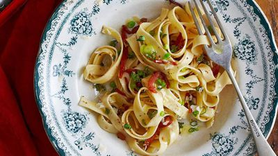 "Recipe:&nbsp;<a href=""http://kitchen.nine.com.au/2016/05/16/10/09/tagliatelle-with-bacon-anchovies-and-thyme"" target=""_top"">Tagliatelle with bacon, anchovies and thyme</a>"