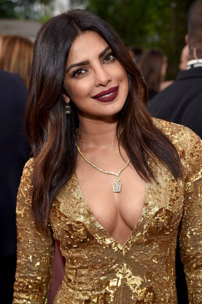 <p>Rich plum lips and Kohl-lined eyes highlight the exquisite features of Priyanka Chopra.</p> <p>Image: Getty.</p>