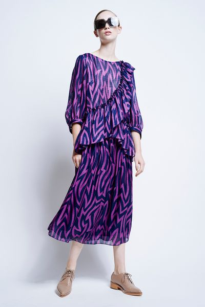 "<a href=""https://www.karenwalker.com/clothing/all-clothing/levy-ruffle-dress-41683/ultra-violetnavy"" target=""_blank"">Karen Walker</a> Levy Ruffle Dress $700<br>"