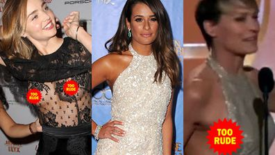 It's the time of year again, when our fave A Listers descend onto the red carpet for the awards season. And that means one thing…wardrobe malfunctions! So, we decided to compile you the top ten most common…enjoy!