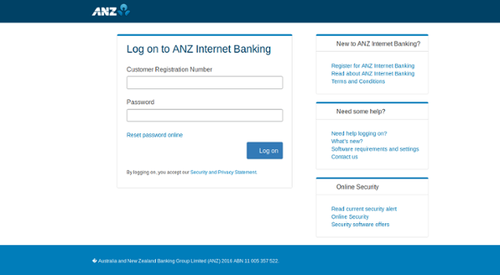 The fake ANZ landing page