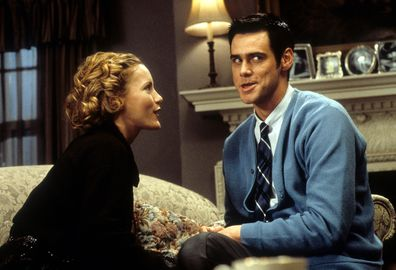 Leslie Mann and Jim Carrey in a scene from the film 'The Cable Guy', 1996.