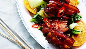 Caramelised pork belly in Chinese master stock with chilli and orange