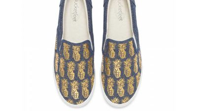"""<strong>Bucketfeet pineappleade chambray/gold slip on</strong>, $65, <a href=""""http://www.bucketfeet.com/shop/womens/pineappleade-chambray-gold"""" target=""""_top"""">bucketfeet.com</a>"""