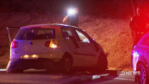 A 17-year-old was left behind by his friends when they crashed this stolen vehicle into a curb south of Adelaide overnight. Picture: 9NEWS.
