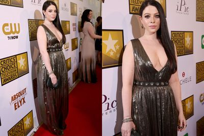 Flesh-flashing Michelle Trachtenberg leaves little to the imagination in this Grecian number.