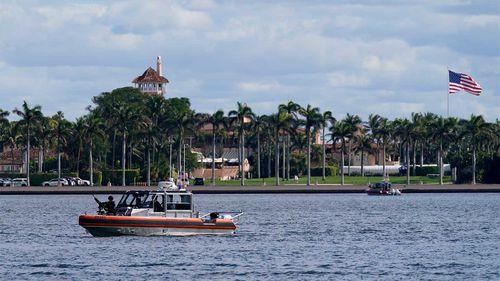 A security boat patrols near Mar-a-Lago Florida Resort.