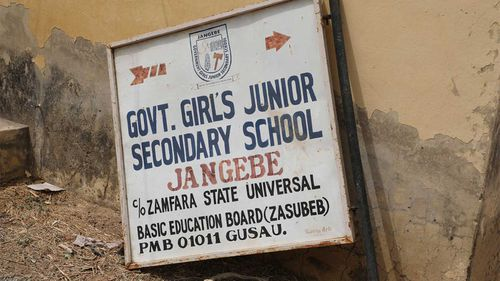 The sign post of Government Girls Junior Secondary School in Jangebe, Nigeria.