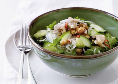 """Recipe:<a href=""""http://kitchen.nine.com.au/2016/05/19/13/55/thai-chicken-and-cucumber-salad"""" target=""""_top"""">Thai chicken and cucumber salad<br /> </a>"""