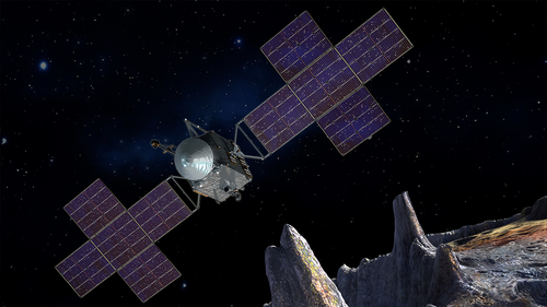 An artist's rendition of the Psyche mission.