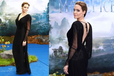 Firstly, let's take a moment to appreciate the 38-year-old's gorgeous Atelier Versace gown. Bravo, Angelina, you look amazing.