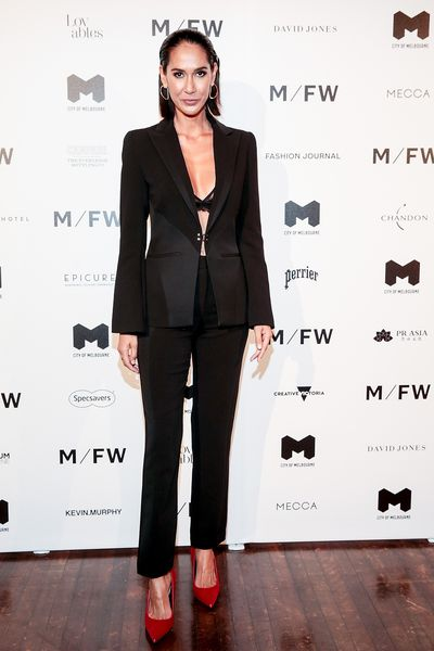"<p>Wearing a lacy bra and form-fitting suit by Rebecca Vallance,<a href=""https://style.nine.com.au/2018/08/03/09/21/tuscany-wedding-lindy-klim"" target=""_blank"" title="" former model Lindy Kim"" draggable=""false""> former model Lindy Klim</a> proved again why she is the high-priestess of mixing modern femininity with old-world tailoring at Melbourne Fashion Week last night. <br /> <br /> The Rama Voyage designer stole second glances in the sharp black suit, paired with a racy black bra from Intimo Lingerie as she struck a pose on the red-carpet at David Jones&rsquo;s opening runway extravaganza.<br /> <br /> The former wife of swimmer Michael Klim took in the department store&rsquo;s latest Spring/Summer offerings alongside an array of local style influencers such as Jessica Gomes, <a href=""https://style.nine.com.au/2018/08/27/15/23/pia-miller-difficult"" target=""_blank"" title=""Pia Miller "" draggable=""false"">Pia Miller </a>and Rozalia Russian.<br /> <br /> Melbourne Fashion will be at the centre of the Australian fashion zeitgeist this week as the city celebrates the stylings of renowned Aussie designers such as Anna Quan, Asilio, Bianca Spender,<a href=""https://style.nine.com.au/2018/09/03/10/10/sylvia-jeffreys-wedding-dress"" target=""_blank"" title="" Camilla &amp;amp; Marc"" draggable=""false""> Camilla &amp; Marc</a> and Carla Zampatti.</p> <p>Click through to see all the style highlights from Melbourne Fashion Week 2018.</p>"