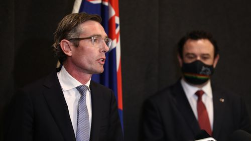Newly elected NSW Premier Dominic Perrottet and newly elected Deputy NSW Liberal Leader Stuart Ayres.