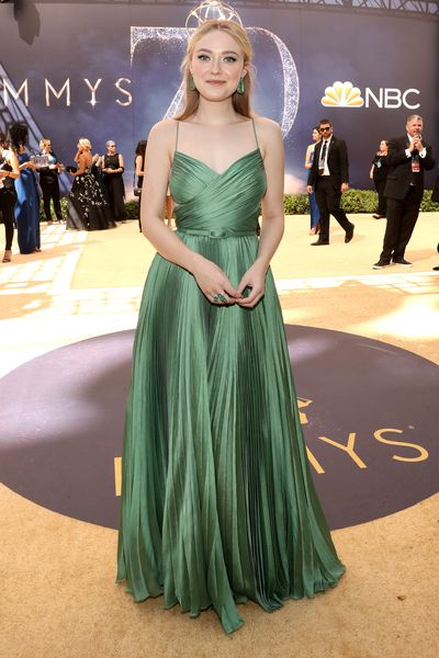 Actress Dakota Fanning, wearing Christian Dior FW18 Couture, at the 70th Annual Emmy Awards