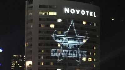 The Novotel hotel in Townsville lit up its exterior with the large Cowboys insignia in celebration of the win. (Instagram: @_________amierebecca__________)