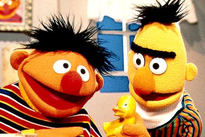 These <i>Sesame Street</i> roommates sleep in the same room and are almost always spotted together, though the show's producers have always denied they're meant to be a gay couple.