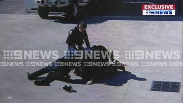 Police tackle fleeing car chase suspect to the ground