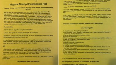 Scientologist family's list of duties for nanny
