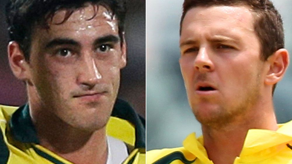 Mitchell Starc (left) and Josh Hazlewood (right). (AAP)