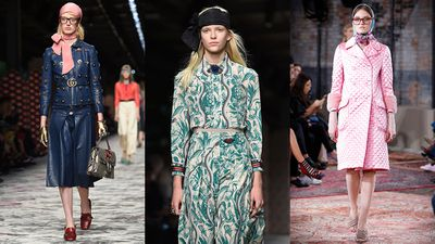 At Gucci's fall 2015 and Cruise 2016 collection, head scarves contributed to the geek-chic of the models' looks.