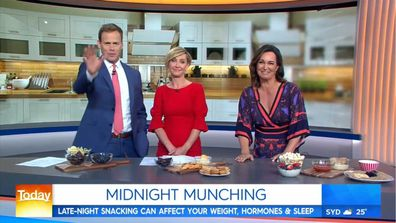 Dr Joanna McMillan on Today Show talking about healthy midnight snacks